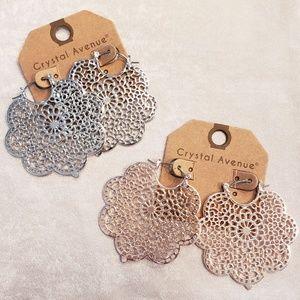 Jewelry - Silver or Rose Gold Filagree Hoop Style Earrings